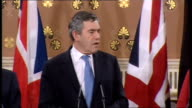 European Union leaders' financial meeting press conference ENGLAND London Foreign Office INT Prime Minister Gordon Brown German Chancellor Angela...