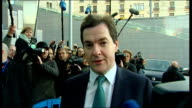 Finance Ministers' meeting in Brussels EXT George Osborne MP talking to press as arriving at meeting SOT the crisis in the Eurozone is doing real...