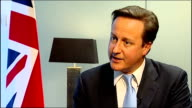 UK isolated after EU summit veto BELGIUM Brussels INT David Cameron MP interview SOT making sure that we don't get a treaty that isn't in our...