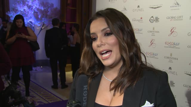 Eva Longoria on the charity balancing her life and tonight's goals at Corinthia Hotel London on November 19 2017 in London England