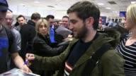 Evan Jonigkeit and Zosia Mamet arrive at Salt Lake City Airport for the Sundance Film Festival on January 21 2016