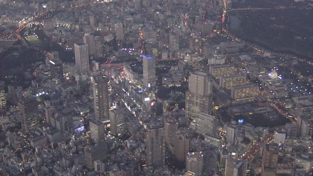 Evening Aerial View Of Downtown Tokyo