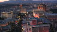 Evening flight above Las Vegas Boulevard looking north