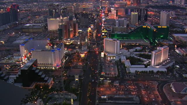 Evening flight north above Las Vegas Boulevard