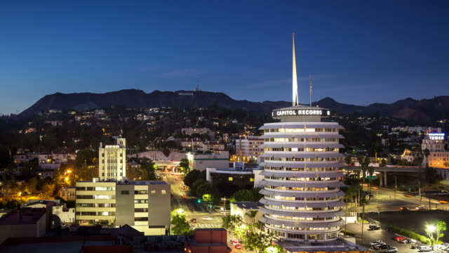 Evening Rush Hour in Hollywood by Capitol Records Building - Time Lapse