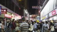 Evening Street Scene in Mong Kok Shopping District