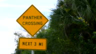 Everglades Florida unique sign of Panther Crossing near Big Cypress National Preserve