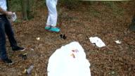 Evidence examining on murder scene