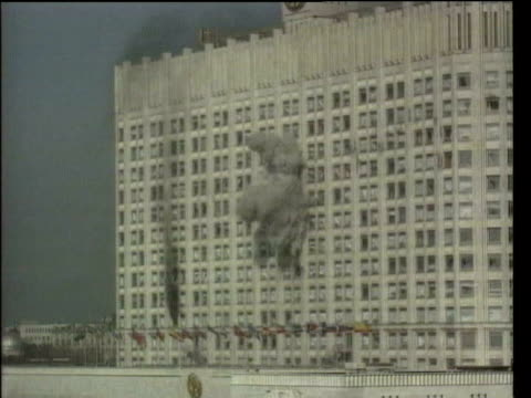 October In 1993 Boris Yeltsin ordered troops to fire on communist rebels in parliament LIB Moscow Russian armoured vehicle firing at communist rebels...