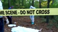 Examining the murder scene