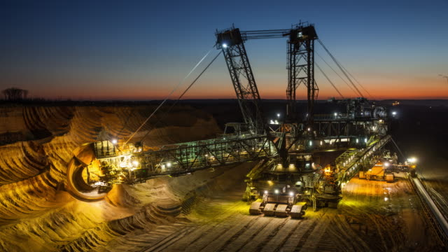 TIME LAPSE: Excavator in brown coal open pit mine