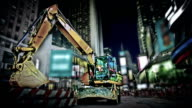 Excavator on time square