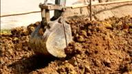 excavator tractor working in construction site