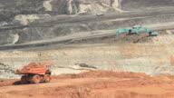Excavator working in open pit.