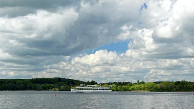 Excursion ship on lake ammersee, Inning Stegen, Fuenfseenland, Upper Bavaria, Bavaria, Germany