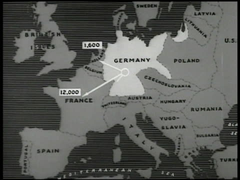 Exodus map showing to where how many Jews have fled from Germany so far Holland France Spain Czechoslovakia USA Palestine Animated Map showing route...