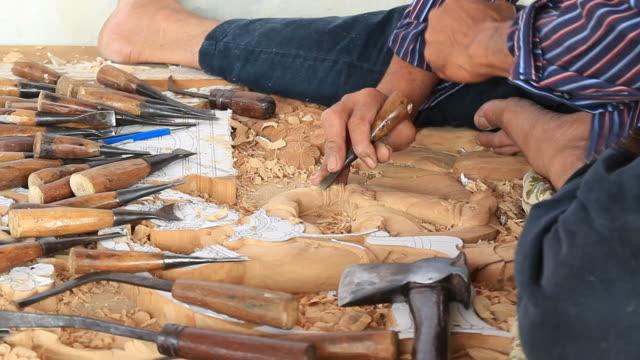 Experienced wood carver