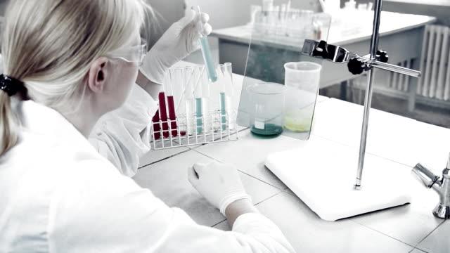 Experimentation in laboratory.