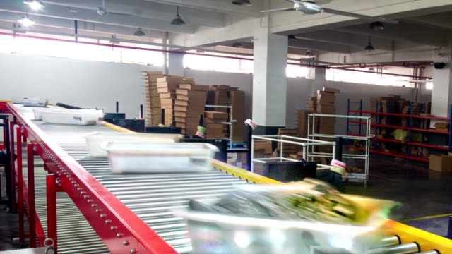 express delivery package sorting assembly line,timelapse.