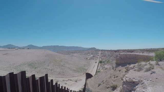 Exterior aerial drone shots of the border fence between the USA and Northern Mexico on July 09 2015 in Juarez Mexico