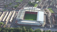 Exterior aerial shots Anfield stadium home of Liverpool Football Club Anfield Stadium aerials on October 07 2010 in Liverpool England