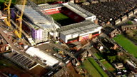 Exterior aerial shots Anfield Stadium home of Liverpool Football Club who play in the English Premier League with construction working taking place...