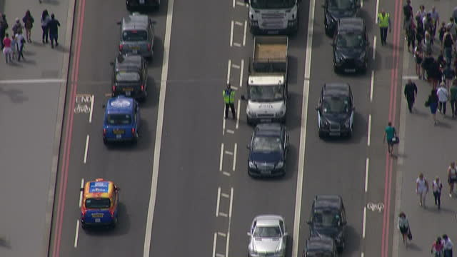 Exterior aerial shots Black cab protest blocking roads and causing traffic jams on June 11 2014 in London England