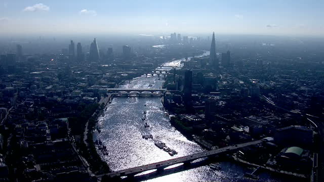 Exterior aerial shots Central London landmarks on sunny morning incl The Shard The London Eye and the Houses of Parliament on June 24 2016 in London...