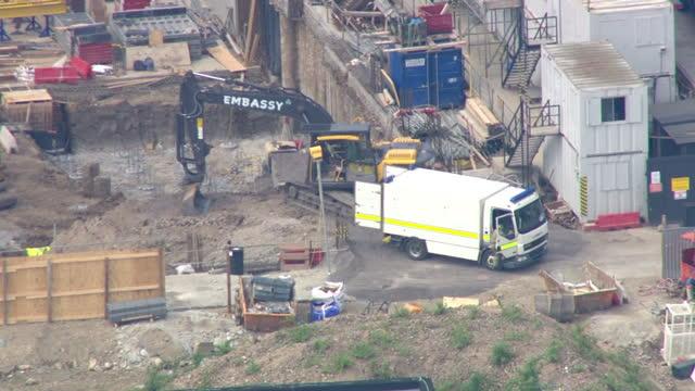 Exterior aerial shots construction site near Wembley Stadium where unexploded World War II bomb was found Exterior presser Chief Supt Mickey...