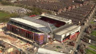 Exterior aerial shots construction work taking place on main stand at Anfield Stadium home to Liverpool Football Club on April 26 2016 in Liverpool...
