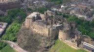 Exterior aerial shots Edinburgh Castle overlooking the city of Edinburgh from Castle Rock on February 23 2014 in Edinburgh Scotland