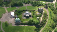 Exterior aerial shots Edinburgh City Observatory on Calton Hill located next to the National Monument of Scotland on February 23 2014 in Edinburgh...