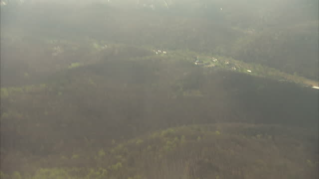 Exterior aerial shots from the window of a commercial airliner over rural Kentucky on 7 April 2017 in Hazard Kentucky