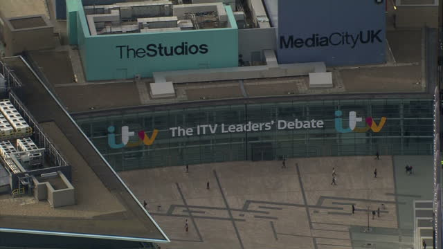 Exterior aerial shots MediaCityUK on Salford Quays with ITV Leaders Debate branding on front of the building on April 02 2015 in Manchester England