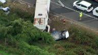 Exterior aerial shots of a crashed lorry and cars on the M5 motorway in the aftermath of a crash which killed four people on 16 September 2017 in...