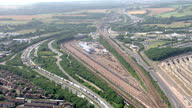 Exterior aerial shots of a huge queue of stationary lorries along the M20 motorway outside of the port of Dover as part of Operation Stack on July 21...