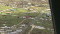 Exterior aerial shots of damage and devastion in the wake of Hurricane Irma over Barbuda on 14 September in the British Virgin Islands