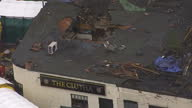 Exterior aerial shots of damaged Clutha pub and recovered police helicopter Damaged pub and recovered police helicopter on December 02 2013 in...