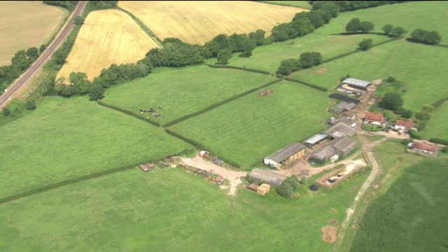 Exterior aerial shots of farm fields dairy cattle and farm buildings on 21 July 2017 in Sussex United Kingdom