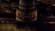 Exterior aerial shots of iconic London buildings at night time including St Paul's cathedral and The Gherkin on December 08 2014 in London England