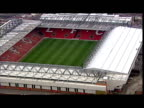 Exterior aerial shots of Liverpool FC's empty Anfield stadium on a nonmatch day Exterior aerial shots of Everton FC's empty Goodison Park stadium on...