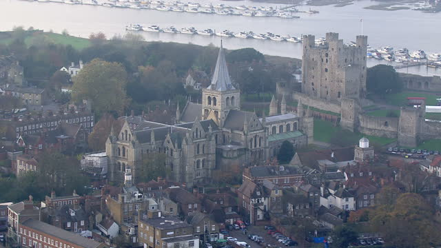Exterior aerial shots of Rochester Cathedral and castle and the River Medway on November 20 2014 in Rochester England
