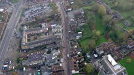 Exterior aerial shots of Rochester war memorial with poppy wreaths and Rochester High Street on November 20 2014 in Rochester England