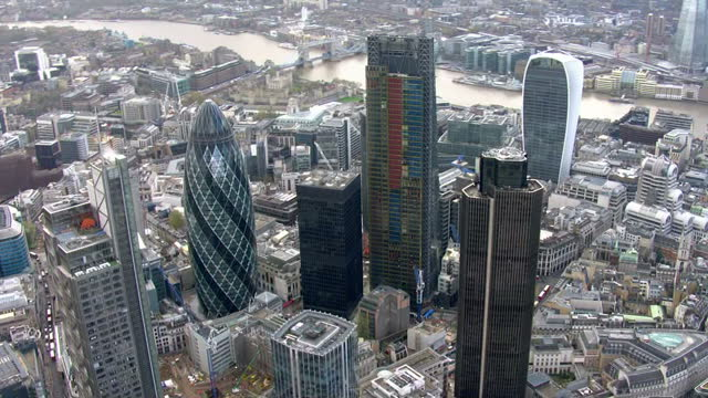 Exterior aerial shots of the City of London skyscrapers including The Shard Gherkin and Walkie Talkie on 25 November 2015 in London England