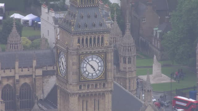 Exterior aerial shots of the Palace of Westminster and London Eye on a misty grey day on June 28 2016 in London United Kingdom