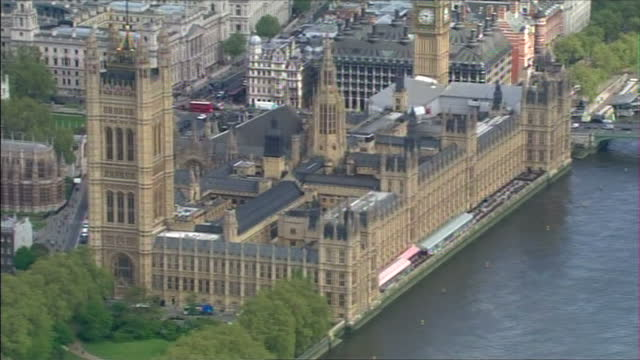 Exterior aerial shots of the Palaces of Westminster including the Houses of Parliament and the London Eye on May 10 2010 in London England