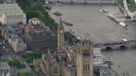 Exterior aerial shots of the Palaces of Westminster London Eye and Thames on January 15 2017 in London England