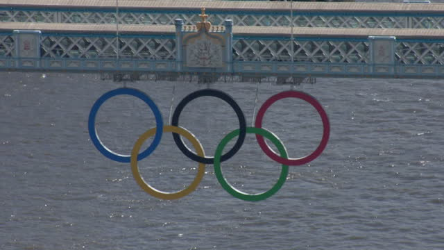 Exterior aerial shots Tower Bridge with the Olympic logo hanging from the central span Sky News 2012 Olympics Coverage on July 12 2012 in London...