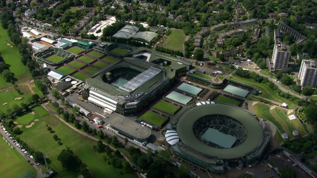 Exterior aerial shots Wimbledon Tennis Club venue for the Olympic tennis event showing Centre Number One courts Sky News 2012 Olympics Coverage on...