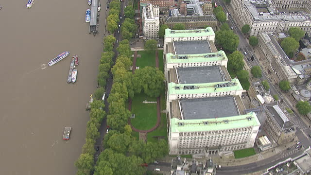 Exterior aerials along the embankment over the City of London England on in London England